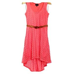 AUW • Crochet Coral Belted High Low Dress